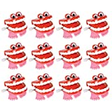Kicko Wind-up Chatter Teeth with Eyes - Pack of 12, 1.75 Inch Chomping Funny Teeth with Wind-up Mechanism - Perfect Party Favors, Supplies, and Props for Halloween and Gag Shows