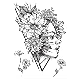 LKXHarleya Sexy Realistic Flower Temporary Tattoos, Big Peony Geometric Waterproof Sexy Body Tattoos Art Sticker para Brazos, Piernas, Cara, Cuello, MuñEca
