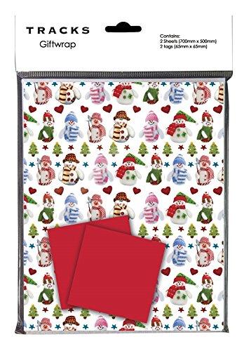 NATALE CARTA REGALI carta pacchi Natale in maglia Pupazzo di neve in abbinato TARGHETTE