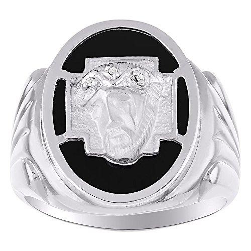 Diamond y negro Onyx anillo 14K amarillo o blanco oro cabeza de Cristo
