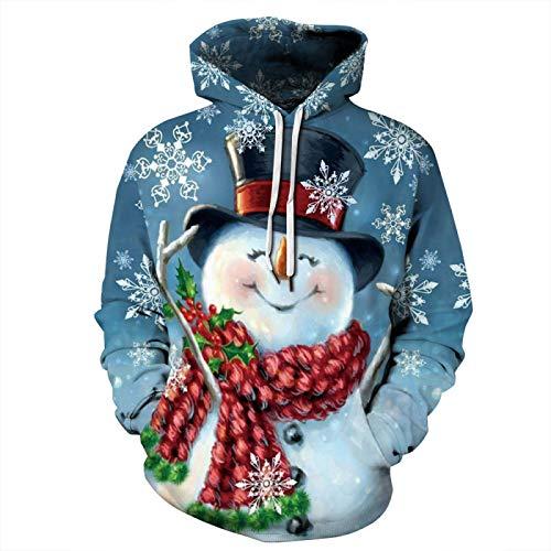 HOSD con Manga Suelto Digital Estampado Larga suéter de Nuevo de de árbol Perezoso Navidad e otoño Invierno de