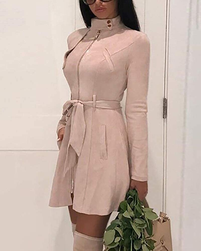Tomwell Damen Winter Faux Wildleder Reißverschluss Jacke Parka Warm Mäntel Winterjacke Waschbar Outwear mit Taschen Rosa