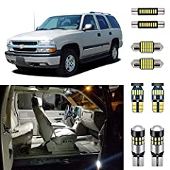 Complete LED Interior Light Replacement Kit for 2000 2001 2002 2003 2004 2005 2006 Chevrolet Chevy Tahoe/Suburban or GMC Yukon (all configurations). Package Includes: Front Map Lights, Center Row Map and Dome Lights, Rear Dome Lights, Vanity Mirror L...
