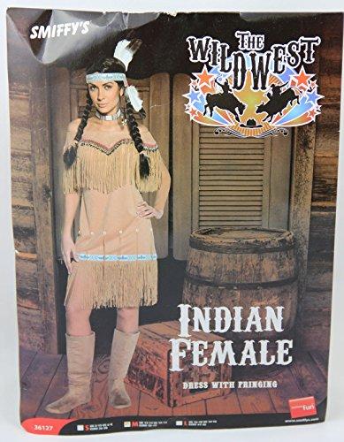 Indianerinkostüm Kostüm Indianerin für Damen braun beige Damenkostüm Karnevalskostüm Gr. M / 38 - 42