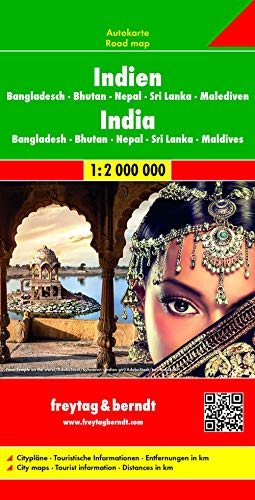 Indien - Bangladesch • Bhutan • Nepal Sri Lanka • Malediven, Autokarte 1:2.000.000: Wegenkaart 1:2 750 000