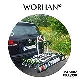 WORHAN Porte Vélo sur la Boule d'attelage Inclinable Basculant Rabattable Plateforme avec Feux LED FA4