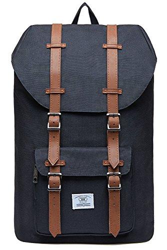 KAUKKO Unisex Nylon Rucksack für 15 Zoll Laptop für Arbeit, Schule oder Reise, 20.77 Liters, 26 * 17 * 47 cm (Schwarz JNL-D1-03)