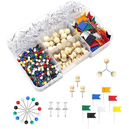 oyfel chinchetas Epingles Push Pins tarjeta Tacks Clips (cabeza de plástico madera...
