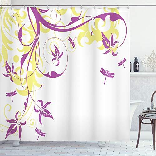 Ambesonne Cortina de ducha con diseño de libélulas, fondo floral en espiral y ramas de damasco y hojas, juego de decoración de baño con ganchos, 177,8 cm de largo, amarillo pastel