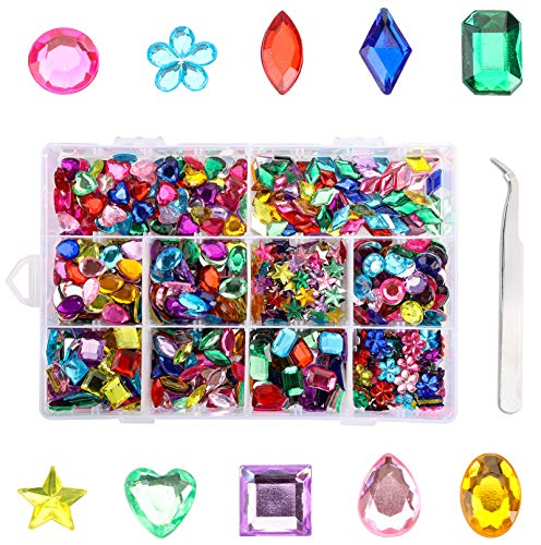 Yesland 800 Pcs Large Craft Gems Acrylic Flatback Rhinestones, 8 to 15 mm Flat Back Gemstone Gems Embellishments with Tweezers and Storage Box for Crafts Nail Face Art Clothes Shoes Bags DIY 10 Shapes