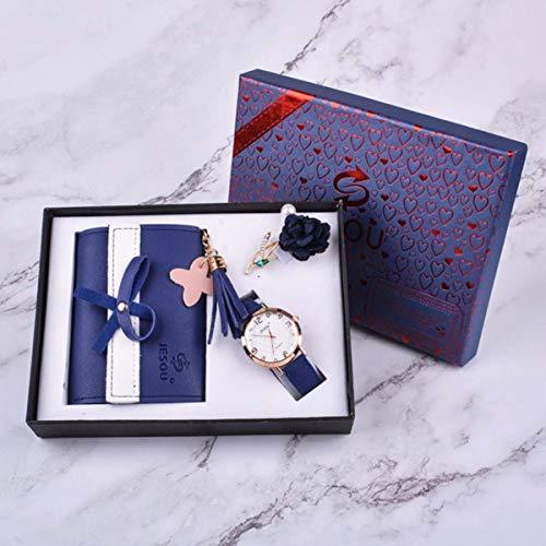YHX Juego De Regalo Reloj Y Billetera para Hombre, 3 Piezas/Juego Broche Reloj De Cuarzo con Cinturón De Billetera, Perfecto como Regalo para Los Regalos Aniversario Bodas del Día San Valentín,Azul
