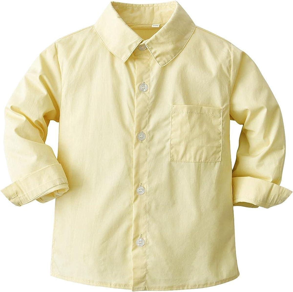 LAPA Baby Boys Dress Shirt Long Sleeve, Oxford Button Down Shirt for 6M-4Y