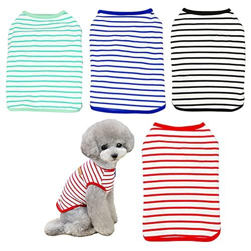 Poseca Camiseta para Perros Camiseta de Verano para Perros Camisetas para Cachorros Ropa para Chihuahua Camiseta para Perros para Perros pequeños Gatos Ropa para Mascotas 4pcs