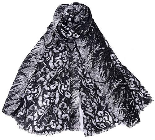 Dielay dames sjaal met luipaardmotief/panter - katoen en viscose - 180x90 cm