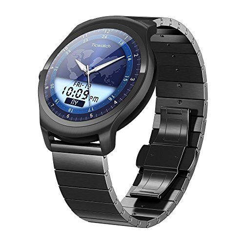 Ticwatch 2 Classic 42mm Stainless Steel Smartwatch - Onyx - Mobvoi Voice Contral...