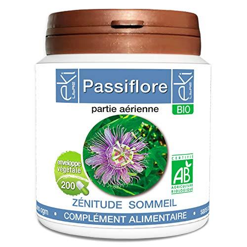 Passiflore BIO | 200 gélules | Zénitude Stress Sommeil | 230 mg dosage 100% naturel sans additif et non comprimé | EKI LIBRE