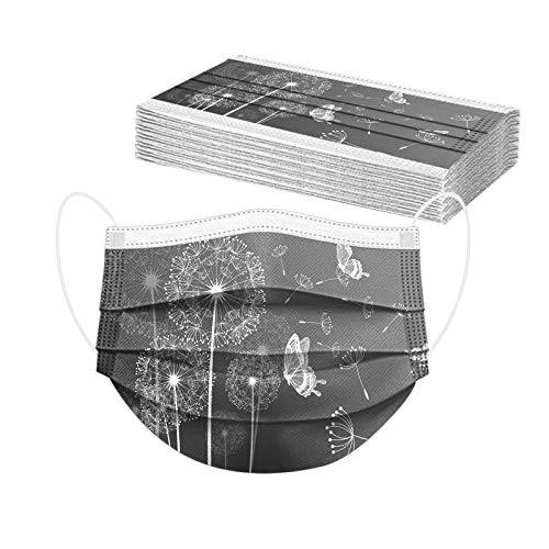 RUITOTP 10/20/30/50/100 Stücke Unisex Mundschutz Einweg Erwachsene Mund und Nasenschutz mit Süße Blume, Universal 3-Lagig Bandana Multifunktional Halstuch