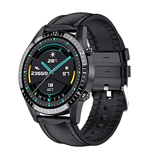 YepYes Inteligente Wireless Watch Sports Tracker en línea Fondos Subir Reloj teléfono de Llamada con Correa de Cuero Negro