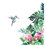 ELOOR Leaf Flowers Bird Wall Decals Palm Tree Wall Stickers Green Leaves Wall Paper Evergreen Wall Sticker Removable Decal Peel and Stick Giant Wall Decals Wall Art Living Room Bedroom Decor
