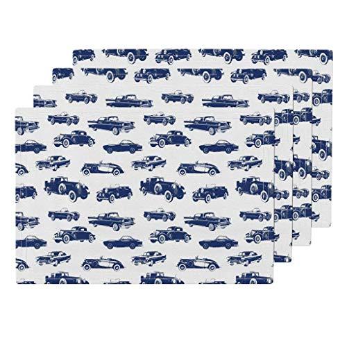 Oldtimer Classic Blue Automobile Vintage Cars Classic Cars Auto Auto Hot Rod Boys Blue Waschbare Küchentischmatten Tischsets 4er-Set