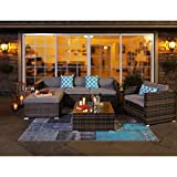 COSIEST 6-Piece Outdoor Furniture All-Weather Mottlewood Brown Wicker Sectional Sofa w Warm Gray Thick Cushions, Glass-Top Coffee Table, 3 Teal Pattern Pillows Incl. Waterproof Cover, Clips