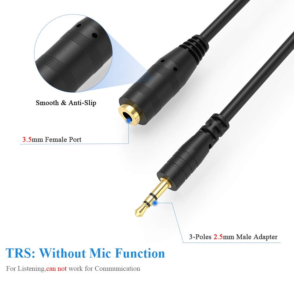 Electop 2.5mm Male to 3.5mm(1/8 inch) Female Stereo Audio Jack Adapter Cable for Headphone