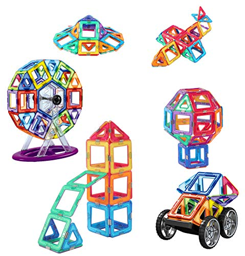 dreambuilderToy 120 Piece Magnetic Tiles, Magnet Building Blocks, STEM Educational Construction Kit,3D car and auto Magnetic Toys, Birthday Gift for Boys and Girls (120 Pieces)