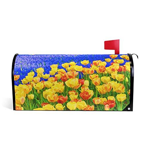 Bunte Tulpen und Muscari Blumen Briefkastenabdeckungen Magnetische Natur Frühling Sommer Herbst Winter Blumenkasten Wraps 21 'x 18'