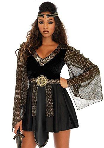 shoperama Glamouröse Kriegerin Damen-Kostüm Schwarz/Gold von Leg Avenue GoT LARP Mittelalter, Größe:XL/XXL
