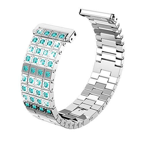 HGNZMD Metal Straps Compatible with Fitbit Versa 2 / Versa/Versa Lite, StainlessSteelBands SportWrist Watchbands Rhinestone Bracelet Replacement Strap Compatible with Versa,Silver