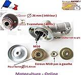 Motoculture-Online Renvoi d'angle Complet pour Tube 26 mm et axe Rond de 9 cannelures pour débroussailleuse ou Machine Multi-Fonctions 5 en 1 (tête Support Lame ou rotofil)