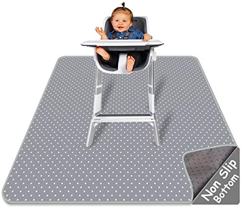 Splat Mat for Under High Chair - Splash Mat | Large 51' x 46' Size | Washable & Water Resistant | Avoid Messes | Multiple Uses | Easy to Wipe | Quick Drying, Comes w/ Carrying case for Floor or Table