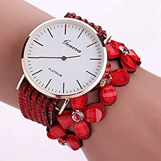 Elegant Watches for Women Fashion Luxury Lady Watch Women Round Dial Flower Diamond Studs Bracelet Watch Female Belt Watch (Color : Red)