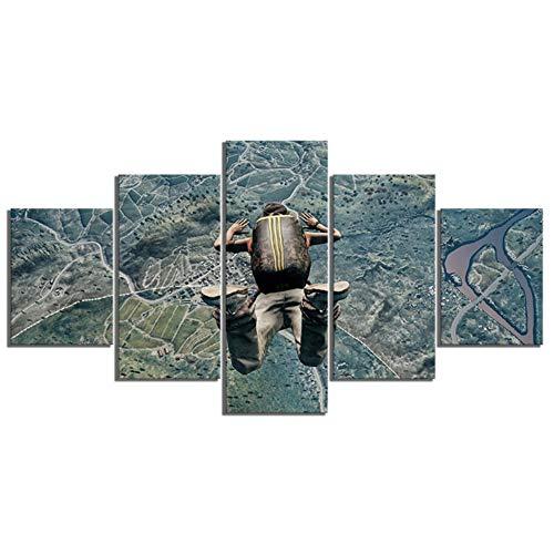 Pubg Springen uit vliegtuig Game Poster 5 Stuk Schilderen Muursticker Artwork Canvas Art voor Home Decor Wall Art -40x60x2 40x80x2 40x100cm Geen Frame