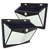 JIM'S STORE Luz Solar Exterior 208LED, Lámpara Solar con Sensor de Movimiento Impermeable 65 Gran Ángulo 270º de Iluminación para Garaje Patio Jardín(2 Pack)