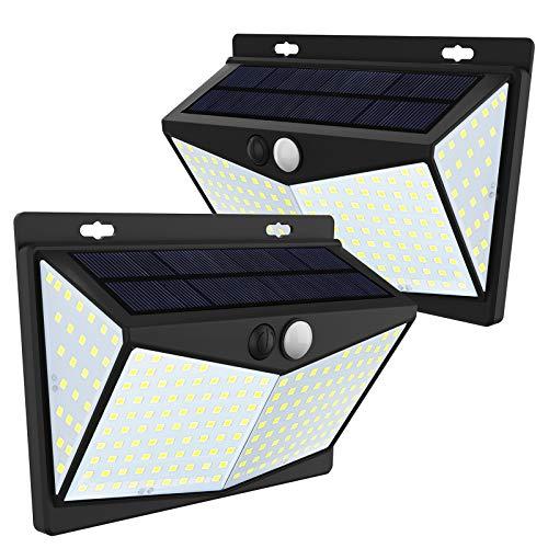JIM'S STORE 208LED Luz Solar Exterior, Lámpara Solar con Sensor de Movimiento Impermeable 65 Ángulo 270º de Iluminación para Garaje Patio Jardín (2 Pack)