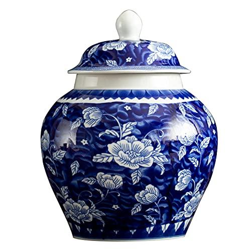 fanquare Jarrón Jingdezhen de Porcelana Azul y Blanca, Florero Hecho a Mano con Diseño de Loto de la Suerte, Altura 23cm