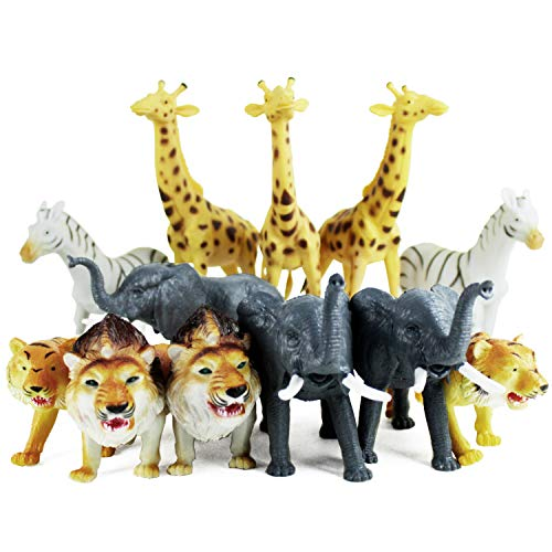 Boley 12 Piece Jumbo Safari Animals - 9  Jungle Animals and Zoo Animals - Great Educational Toy for Kids  Toddlers  Children Or Party Favor!