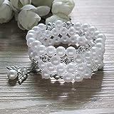 Baptism Favor 12PC Rosary Wrap Angel Bracelet Recuerdos de Bautizo Christening Gift for Guest Pearl White - Wedding Favors