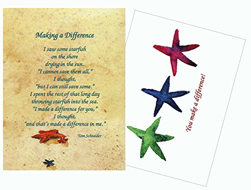 Starfish Story Poem 25 Laminated Make a Difference Inspirational Recognition and Appreciation Greeting Cards