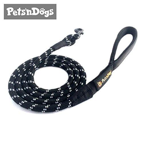 Sportive Hunde-Leine aus Profi-Kletterseil inkl. 2 Gratis-Booklets | Rund & sehr leicht (ca.125g) | Softe Neopren-Handschlaufe | Sicherheits-Komponenten | Pets'nDogs (schwarz)