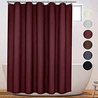 Eforcurtain Large Size 72 Inch Width by 86 Inch Length Shower Curtain Microfiber Water Resistant, Thicken Shower Curtain Liner for Home and Hotels, Retro Style with Dark Red Color