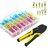 270pcs Heat Shrink Connectors Crimping Tool, Waterproof Automotive Marine Electrical Terminals Kit, Ring Hook Fork Spade Butt Connectors Splices, Connectors Kit Assortment for Automotive and Marine