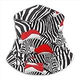 Diadema A Prueba De Viento,Cebra con Sombreros De Santa Sombreros De Media Cara, Buena Apariencia Bufanda Única para La Caza Unisex para Adultos,26X30Cm