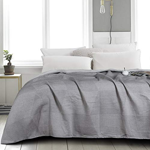 NTBAY Multilayer Muslin Natural Cotton Twin Bed Blanket, 68 x 92 Inches, Grey Striped