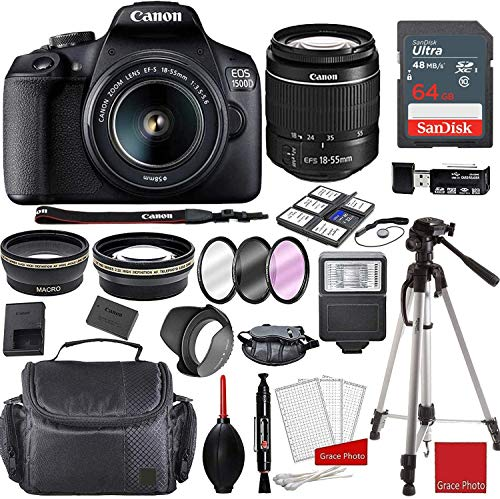 Canon EOS 1500D (Rebel T7) Kit with EF-S 18-55mm f/3.5-5.6 III Lens + Sandisk 64GB Memory + Professional Accessory Bundle