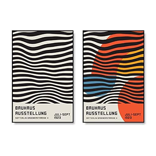 Exposición bauhaus póster geométrico impresiones artísticas minimalistas, pinturas murales de líneas abstractas, pinturas en lienzo sin marco A1 50x75cm