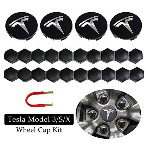 BMZX Tesla Model 3 Model S Model X - Juego de 4 tapacubos centrales y 20 tapas de tuerca de rueda, color plateado