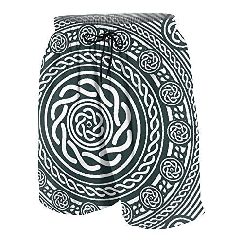 Hombres Personalizado Trajes de Baño,Diseño circular celta, étnico irlandés con líneas espirales retorcidas en el sentido de las agujas del reloj Arte insular,Casual Ropa de Playa Pantalones Cortos
