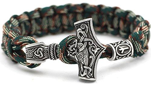 Dagaz - Pulsera vikinga con diseño del martillo de Thor, 100 % hecha a mano, color verde único, paracord antiguo, plata antigua, nórdico, celta n.º 51